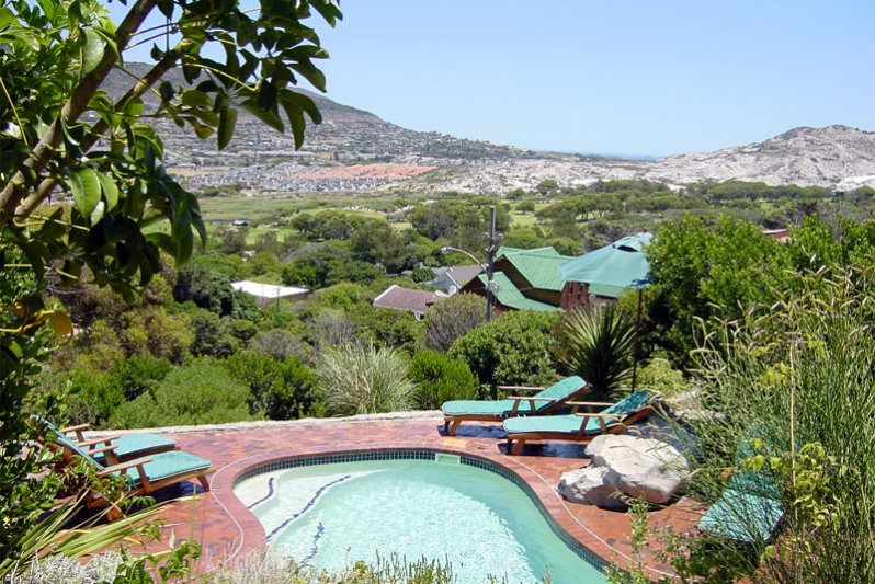 View over the pool towards the golf course