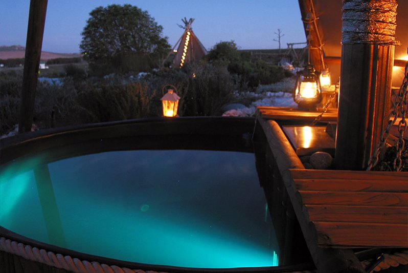 Relax in wood-fired outdoor Hot Tub