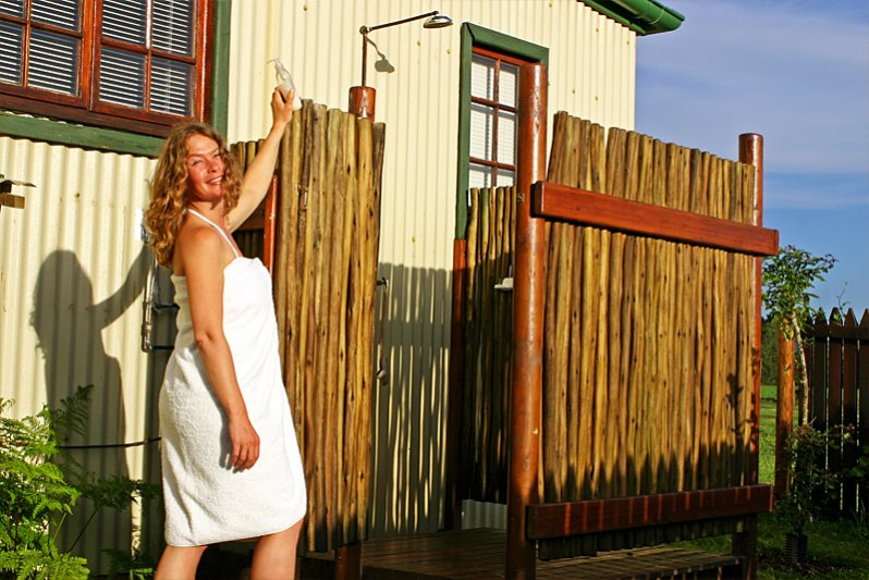 Enjoy a hot-water outdoor shower when you return from the beach
