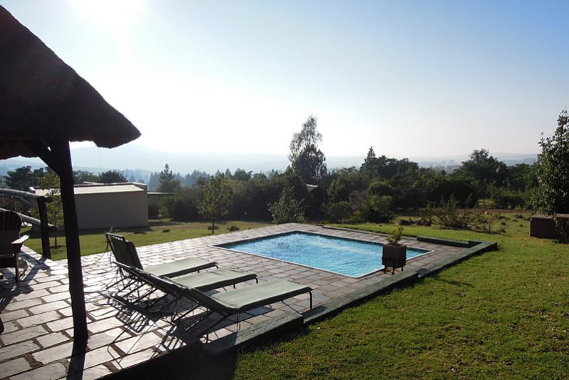 View over valley and pool