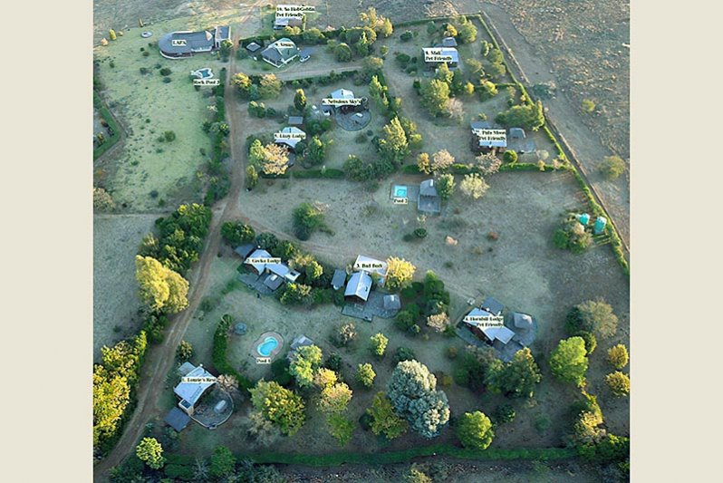 Aerial view showing all cottages