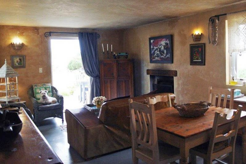 Open plan living/kitchen area leading to outside garden and braai patio