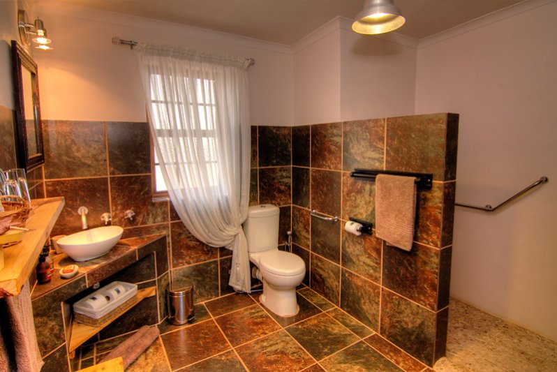 En-suite Bathroom with walk in shower - wheel chair friendly in 2 of our Karoo View Cottages