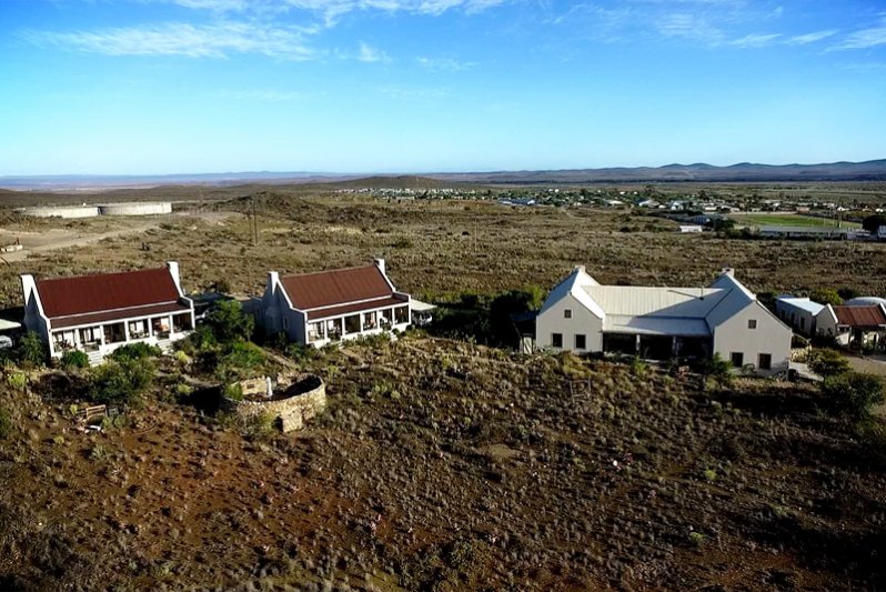 Aerial view of our Karoo View Cottages & 3 Bedroom house