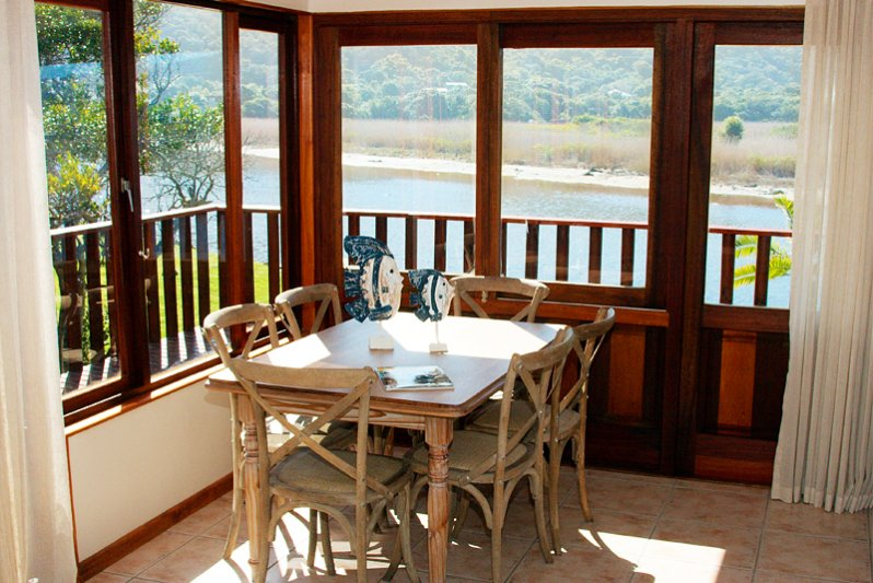 Dining area overlooking the river