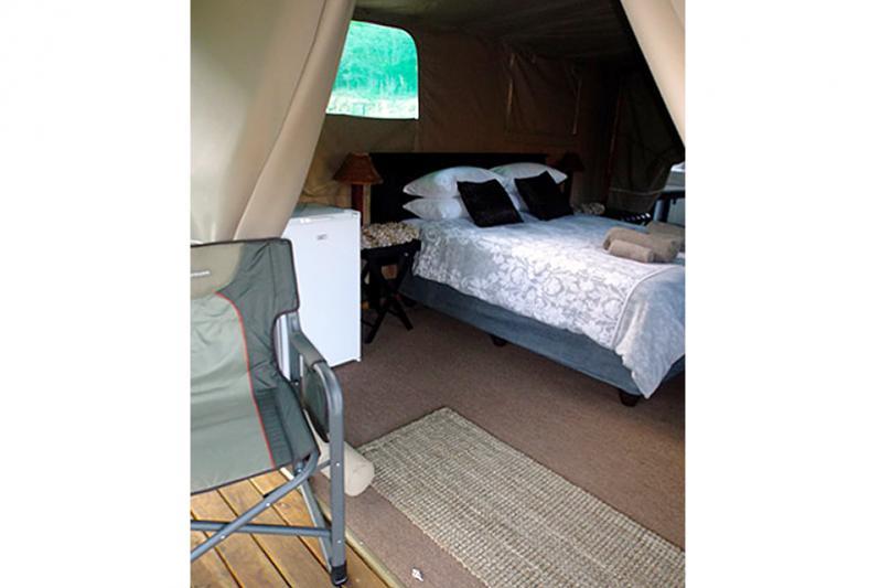 luxury riverfront tent