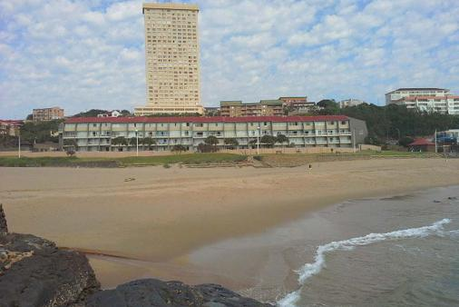 1/12 - View of Inyoni Rocks Cabanas from beach - Self Catering Apartment Accommodation, Amanzimtoti