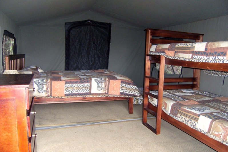 One double bed and bunker bed in the two tents