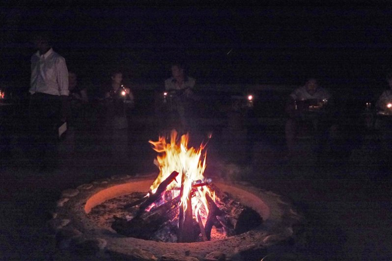 Night time pit fire area