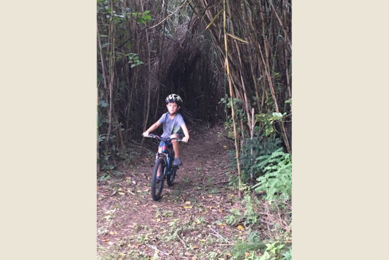 Riding out of the reed river tunnel. So much fun